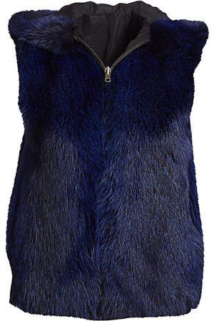 The Fur Salon Women's Fox Fur Hooded Vest - Navy - Size Medium