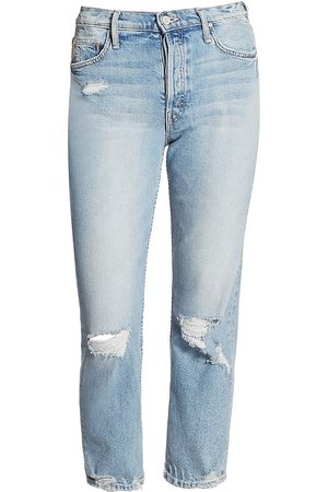 Mother Women's The Tomcat High-Rise Straight-Leg Distressed Jeans - - Size 34 (16)