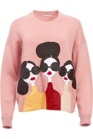 ALICE+OLIVIA Women's Nyla Boxy Pullover - Rose Multi - Size Medium