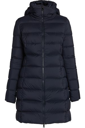Moncler Women's Gie Stretch Nylon Down Hooded Puffer Coat - - Size 4 (XL)