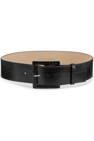 Carolina Herrera Women's Square-Buckle Snakeskin & Leather Belt - - Size Large
