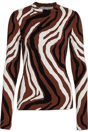 PROENZA SCHOULER WHITE LABEL Women's Zebra Jacquard Long-Sleeve Top - - Size Medium