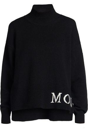 Moncler Women's Logo Cashmere & Wool Mockneck Sweater - - Size Medium