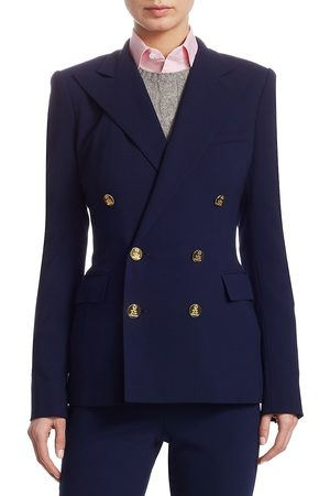 Ralph Lauren Women's Iconic Style Camden Double-Breasted Wool Jacket - - Size 16
