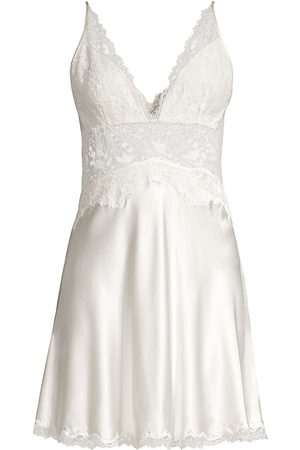 Natori Women's Sleek Lace Detail Silk Chemise - - Size Large