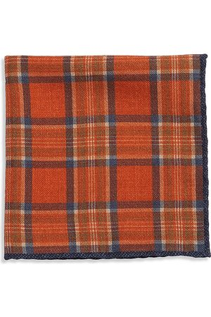 Brunello Cucinelli Men's Plaid Wool Pocket Square