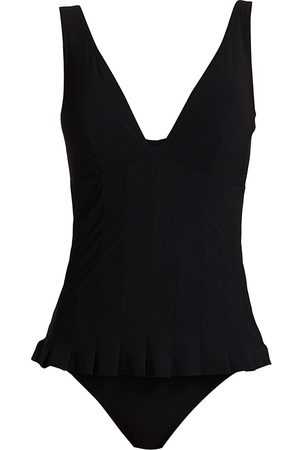 Karla Colletto Women's Lana V-Neck One-Piece Swimdress - - Size 14