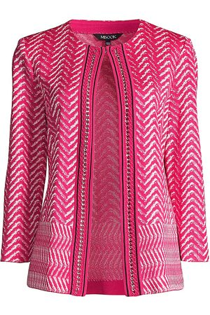 Misook Women's Chevron Knit Chain Trim Jacket - - Size Large