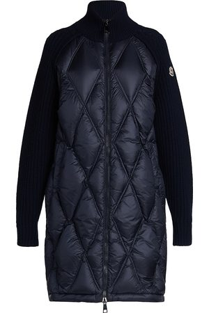 Moncler Women's Long Mixed Knit Quilted Down Cardigan - - Size Small