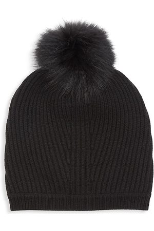 Max Mara Women's Nostoc Fox Fur Pom Pom Wool Cashmere Hat