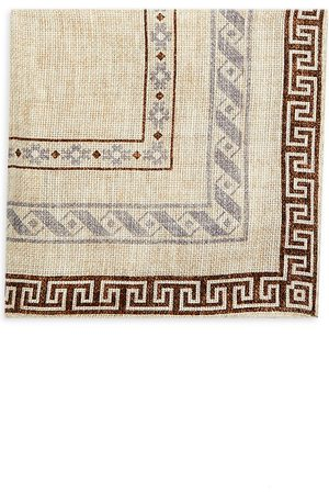 Brunello Cucinelli Men's Border Tapestry Print Pocket Square