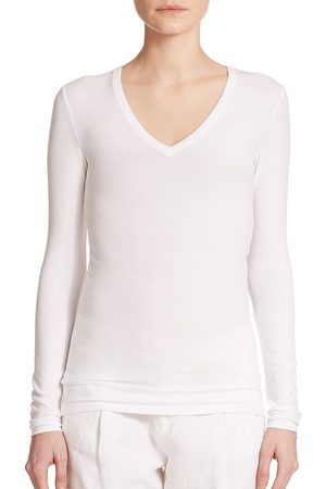 ATM Anthony Thomas Melillo Women's Long-Sleeve V-Neck Tee - - Size XS