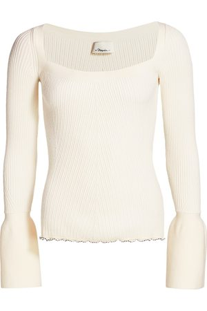 3.1 Phillip Lim Women's Long Bell-Sleeve Wool Rib-Knit Sweater - - Size Large