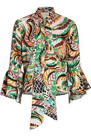 La DoubleJ Women's Happy Wrist Silk Top - - Size Large
