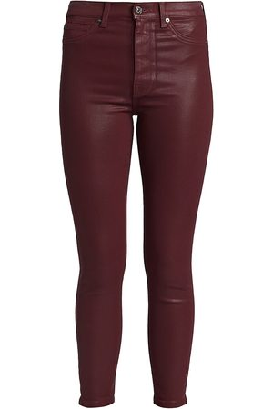 7 for all Mankind Women's High-Waisted Ankle Skinny Coated Jeans - - Size 32 (12)