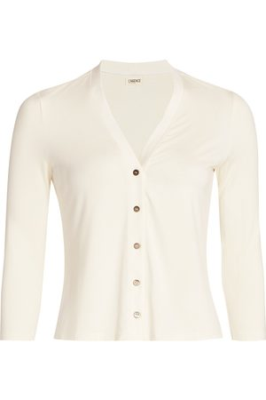 L'Agence Women's Britney Three-Quarter Sleeve Button-Up Cardigan - - Size Large