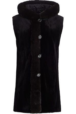 The Fur Salon Women's Sable Fur-Trimmed Mink Fur Reversible Vest - - Size Large