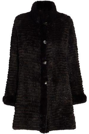 The Fur Salon Women's Sable Fur Sections Reversible Coat - - Size Medium