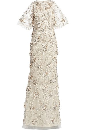 THEIA Women's Embellished Flutter-Sleeve Tulle Gown - - Size 10