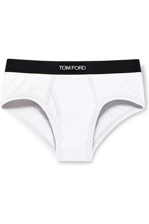 Tom Ford Men's Stretch-Cotton Logo Briefs - - Size XXL