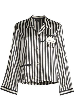 Morgan Lane Women's Striped Silk Pajama Top - - Size Medium