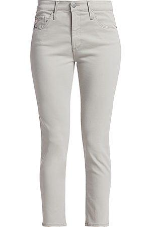 AG Jeans Women's Prima Sateen Mid-Rise Crop Cigarette Pants - - Size 32 (12)