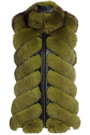 The Fur Salon Women's Chevron Sectioned Fox Fur Leather-Trim Vest - - Size XS