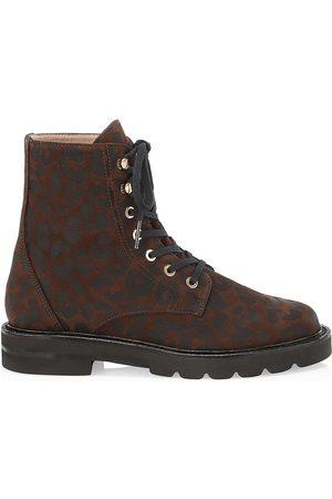 Stuart Weitzman Women's Mila Lift Leopard-Print Suede Combat Boots - - Size 9