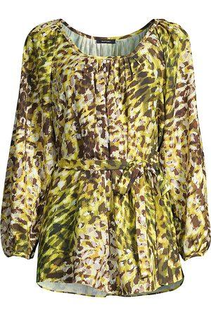Natori Women's Ombre Animal-Print Tie Top - - Size Large