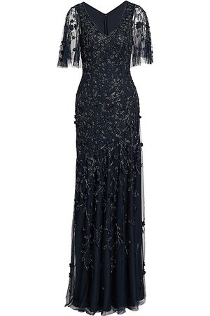 THEIA Women's Metallic Beaded Flutter-Sleeve Column Gown - - Size 16