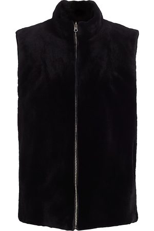 The Fur Salon Women's Reversible Mink Fur Stand Collar Vest - - Size Medium