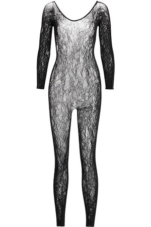 Natori Women's Floral Lace Long-Sleeve Catsuit - - Size Large