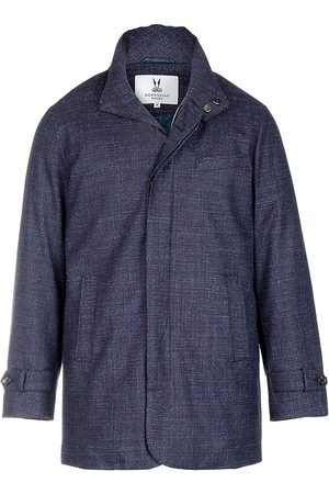 Norwegian Wool Men's Textured Wool & Silk Hooded Stretch Slim Carcoat - - Size Small