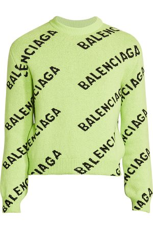 Balenciaga Men's Logo Intarsia Wool-Blend Sweater - - Size Large