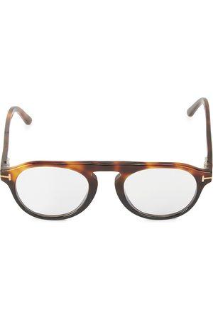 Tom Ford Men Round - Men's 49MM Round Block Optical Glasses - Havana