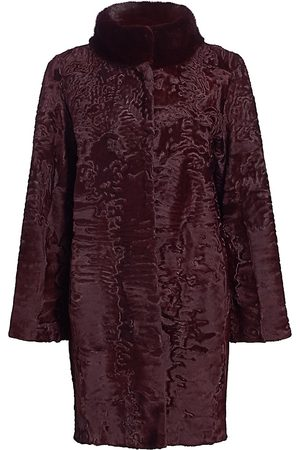 The Fur Salon Women's Mink-Trimmed Lamb Coat - - Size Large