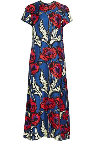 La DoubleJ Women's Edition 20 Big Floral Silk Swing Dress - - Size Small