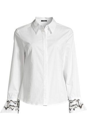 Natori Women's Embroidered Cuff Poplin Button Down Tunic - - Size Medium