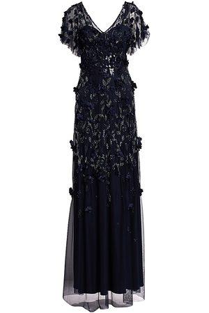 THEIA Women's Flutter Sleeve Floral Appliqué Gown - - Size 14