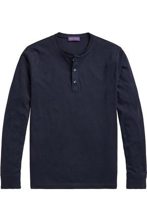 Ralph Lauren Men's Long-Sleeve Cotton Henley T-Shirt - Navy - Size XL