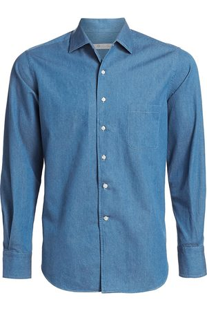 Loro Piana Men's Andre Denim Button-Down Shirt - - Size XXL