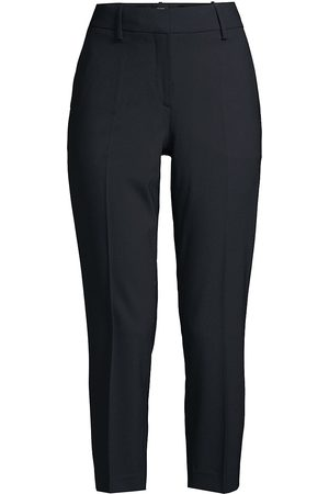 THEORY Women's Treeca Skinny-Leg Cropped Good Wool Suiting Pants - - Size 12