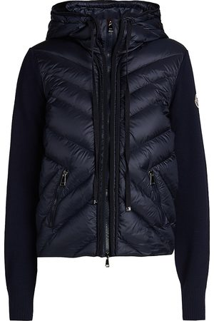 Moncler Women's Hooded Nylon Down Combo Knit Sweater - - Size Small