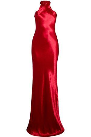 GALVAN Women's Eve Metallic Satin Wrapped Halter Gown - - Size 42 (10)