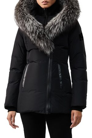 Mackage Women's Adali Silver Fox Fur-Trim Coat - - Size Small