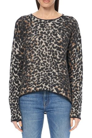 360CASHMERE Women's Leopard Print Tipped Crew Sweater - - Size Large