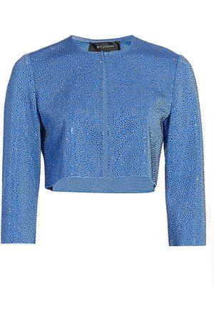 ST. JOHN Women's Liquid Milano Stud Knit Crop Jacket - - Size 8