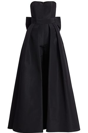Alexia Maria Women's Silk Faille Bow-Back Jumpsuit with Convertible Skirt - - Size 2
