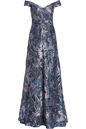 Rene Ruiz Collection Women's Off-The-Shoulder Print Fil Coupé Gown - - Size 18