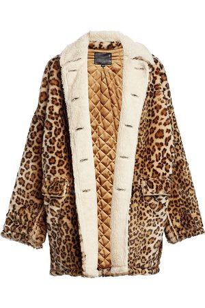 R13 Women's Hunting Print Shearling-Lined Jacket - - Size Small